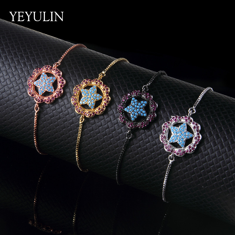New Arrival Star shaped Charms Alloy Rhinestone Bracelet For Women Girls Bangles Jewelry Gift