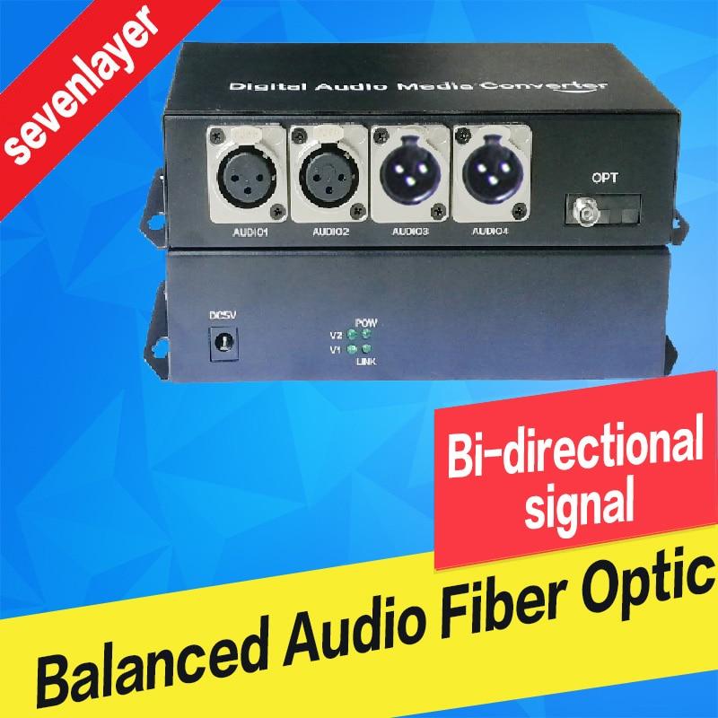 2 Ch Bi-directional Balanced Audio To Fiber Optic XLR Over Fiber Audio Fiber Media Converter Transceiver And Receiver