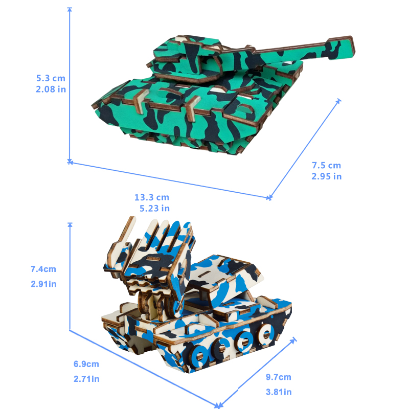 Rosana 3D DIY Assemble Model Wooden Military Weapon Puzzles Tank Armored Vehicle Model Wood Kits Educational Toys for Children in Model Building Kits from Toys Hobbies