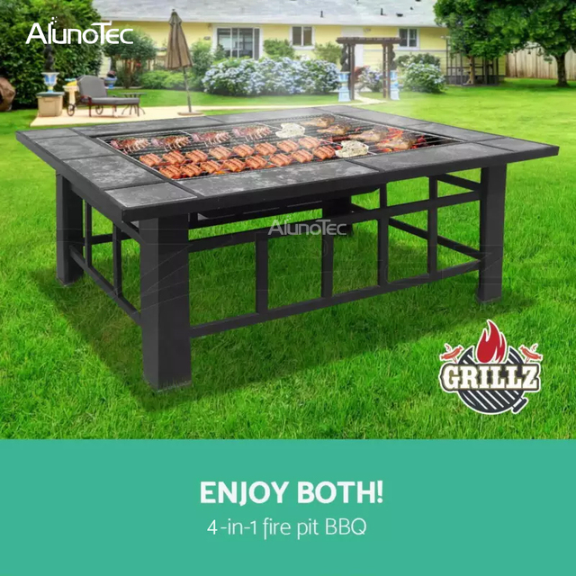 Alunotec Patio 32 Fire Pit Metal Stove Barbecue Bbq Grill Fireplace Heater Square Table