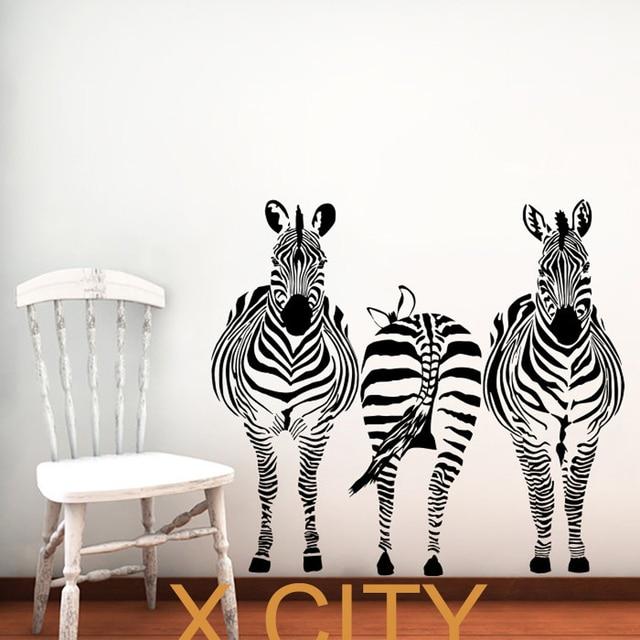 3 zebra animals jungle safari african vinyl wall decal art children