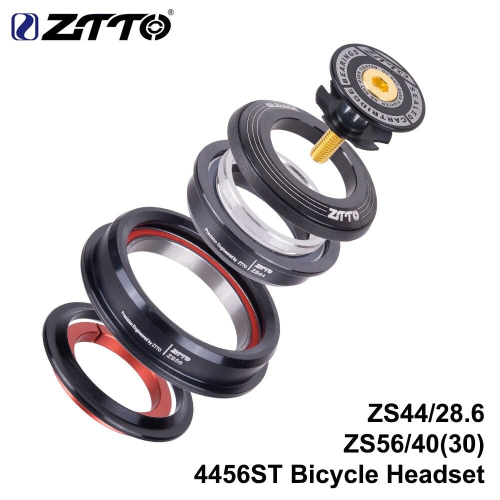 Ztto 4456st mountain bike fone de ouvido interno 44mm 56mm tubo cônico garfo reta zs44 zs56 bicicleta sem rosca fone de ouvido para mtb