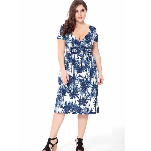VITIANA 2017 Women Summer Boho Beach Dress Femme Blue Print Bohemian Knee-Length V Neck Clothing With Belt Plus Size 5XL 6XL