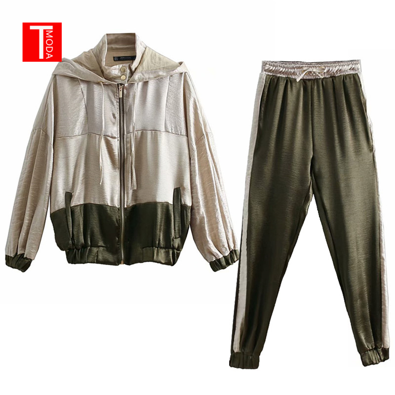 2019 Women Set Female Vintage Contrast Color Baseball Bomber Pullover Jacket Women Tops And Jogging Pants Suits Two Piece Sets
