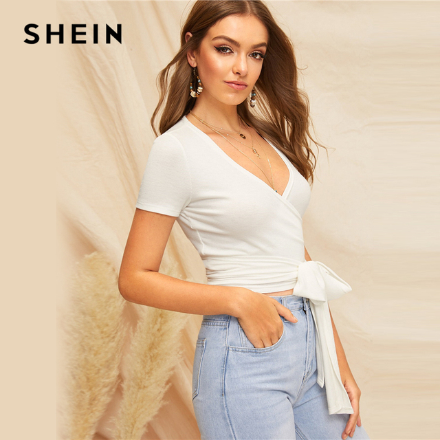 SHEIN Sexy White Deep V Neck Crop Wrap Belted Slim Fitted Top Solid T Shirt Women Summer Elegant 2019 Short Sleeve Tshirt Tops 1