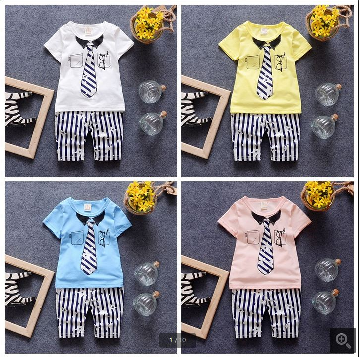 2016 Casual baby Boys Clothing Kids Clothes Cotton Boys Clothing Suit Set short sleeve+pants Cartoon Baby Boy Clothes