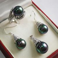 Prett Lovely Women's Wedding 12mm purple shell pearl pendant necklace earring ring (6 7 8 9#) lady's jewelry sets annivers