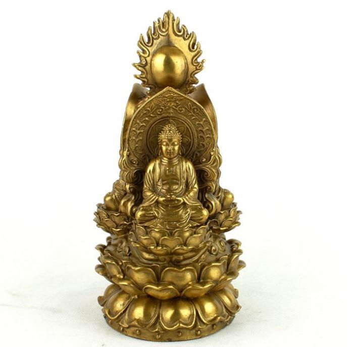 Open Light pure copper three face Buddha statue the three saints of the west Sambo Buddha
