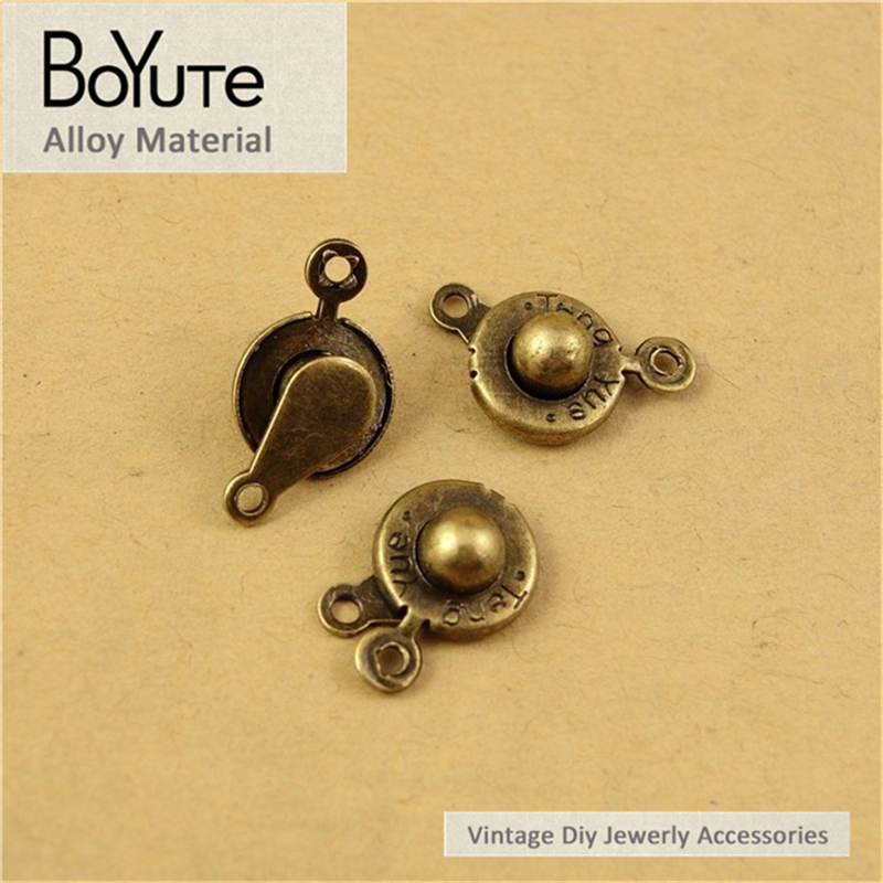 BoYuTe (100 Pieces/Lot) 13.5*9.5MM Antique Bronze Plated Zinc Alloy Press Button Charms for Jewelry Making Accessories