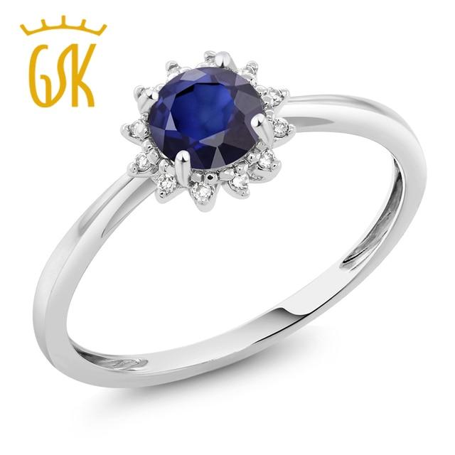5cbda70f36cac GemStoneKing 10 K Ouro Branco 1.00 Ct Redonda Anel de Diamante Azul Safira  Natural Gem Pedra