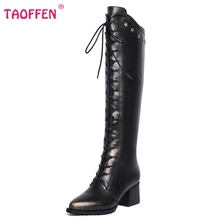 Ladies Real Genuine Leather Over Knee Long Boots Women Thick Heel Zipper Shoes Fashion Lace Up Heeled Shoes Size 34-42 N00184