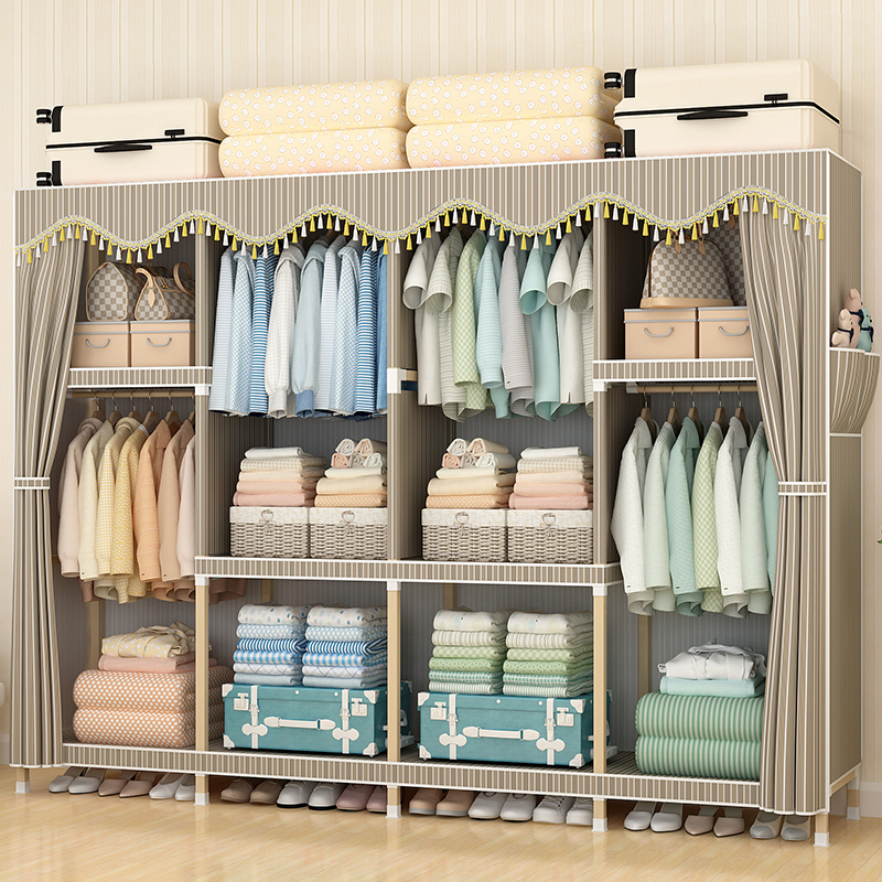 Simple modern economic assembled solid wood cloth wardrobe dormitory rental home storage cabinet