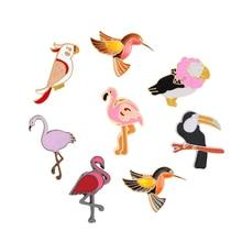 Backpack Hat Jackets Woodpecker-Brooch Birds Lapel-Pin Fly-Animals Flamingo Pink Women