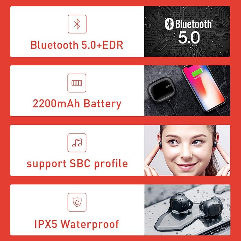 HAVIT TWS Mini écouteurs sans fil dans l'oreille Bluetooth écouteur V5.0 Sport IPX5 étanche avec 2200 mAh boîte Rechargeable casque I93 - 5