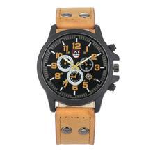 Vintage мужская Водонепроницаемый Дата Кожаный Ремешок Спорт Кварцевые Часы Армии M5054