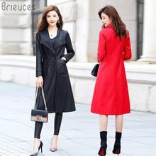 Brieuces Female 2018 New Design Spring Autumn PU Leather Jacket Faux Soft Coat Slim Black Rivet Zipper Motorcycle