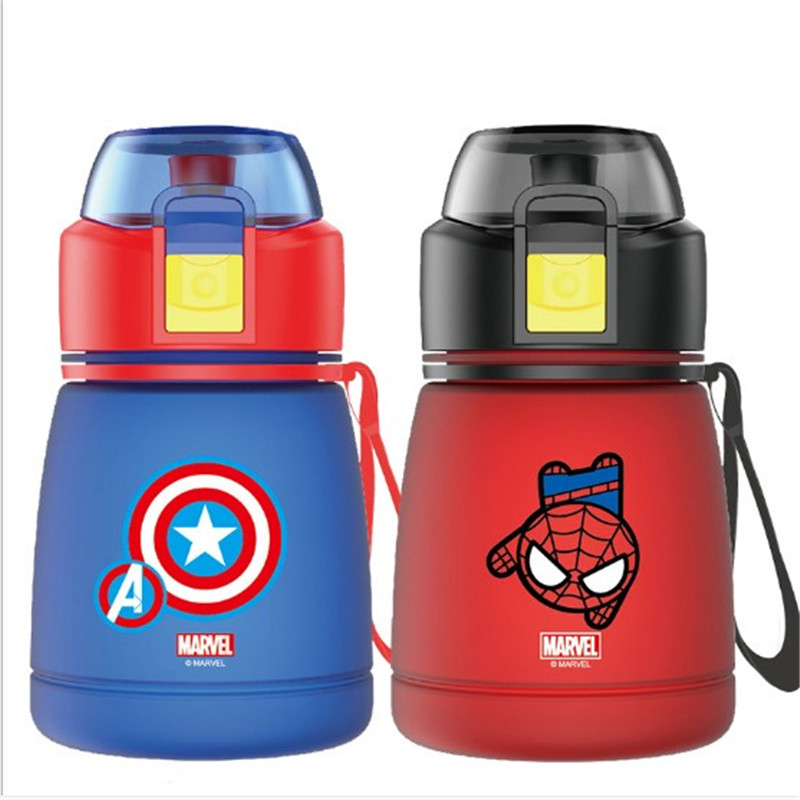 390ML Cartoon Spiderman Captain America Children Kids Feeding Bottles Cups With Straw Water Cups