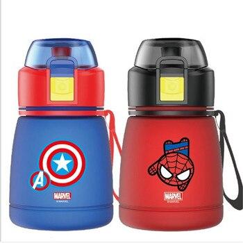 390ML Cartoon Spiderman Captain America Children Kids Feeding Bottles Cups With Straw Water