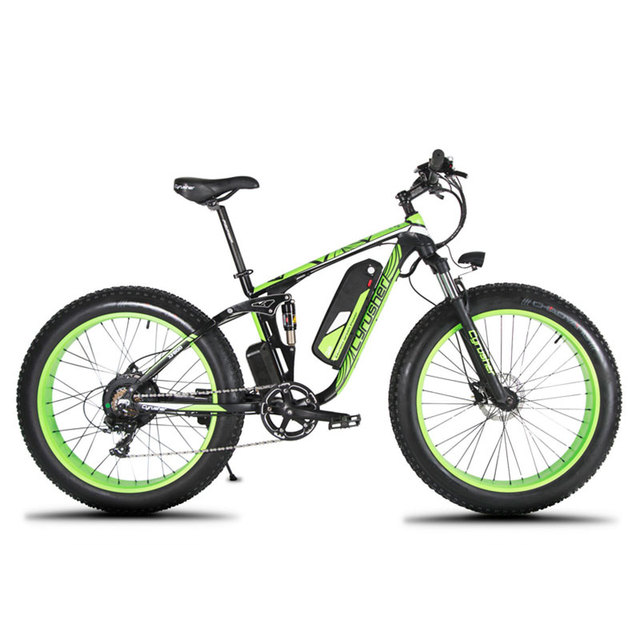 """Cyrusher XF800 1000W 48V Electric fat tire Bike 26""""x4.0 7s Fat Bicycle Full Suspension frame bike with Hydraulic Disc Brake"""