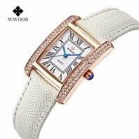 Wwoor 2018 Women Quartz Fashion Luxury Watches Ladies Watches Brand Watches Genuine Leather Square Watches Women
