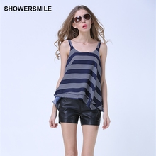 SHOWERSMILE Brand Clothing Summer Top Women Spaghetti Strap Top Striped Chiffon Camis Sleeveless Fake Two Pieces Ladies Backless
