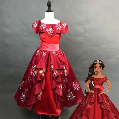 100% reais crianças meninas luxo princesa elena cosplay bordado vestido de baile vestido medieval vestido de desenho animado vestido/costumes tamanho fazer