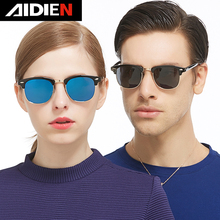 Aidien  man polarized sunglasses women star style fashion vintage round lens PC and alloy frame mirror polaroid goggle UV400
