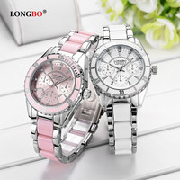 LONGBO Brand Fashion Watch Women Luxury Ceramic And Alloy Bracelet Wristwatch Women Quartz Watch Stainless Steel