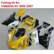 Injection mold fairings for YAMAHA R1 2000 2001 yellow black white fairing kit YZF R1 00 01 MM117