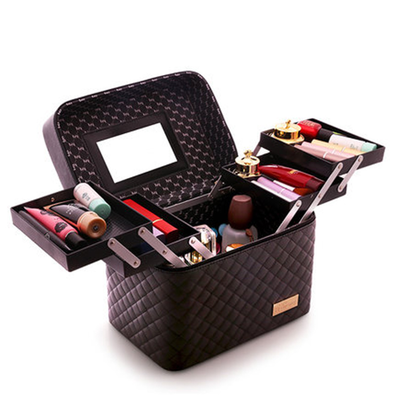 Women Large Capacity Professional Makeup Organizer Fashion Toiletry Cosmetic Bag Multilayer Storage Box Portable Pretty Suitcase купить