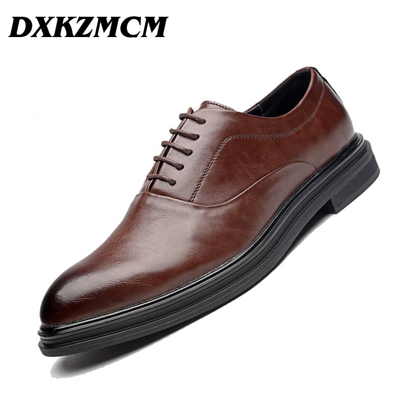 DXKZMCM Handmade Classic Leather Man Oxfords Lace Up Wedding Party Mens Street Style Dress Shoes handmade cotton lace parasol umbrella and hand fan party wedding decor