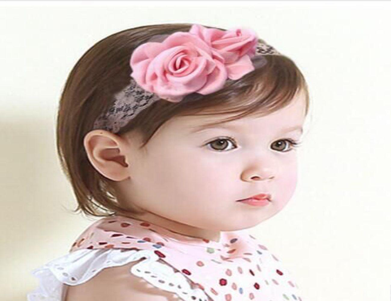 20 pcs lot terbaru eropa anak elastis rambut bando dibakar bunga lace gadis populer lucu