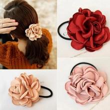 LOEEL, новинка, модные женские аксессуары для волос, искусственный цветок, резинка, Камелия, роза, прикреплена к эластичным повязкам для волос, головной убор
