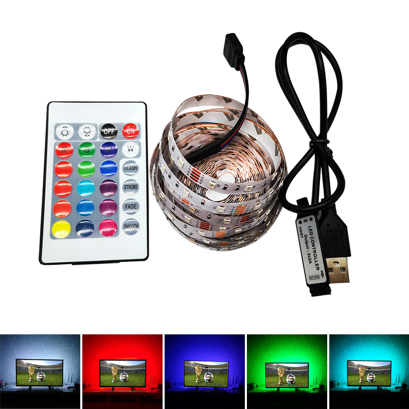 5V USB 5M led Strip RGB light Lamp SMD2835 Warm White White Cable ledstrip lamp Decor for TV Backlight Christmas Not Waterproof image