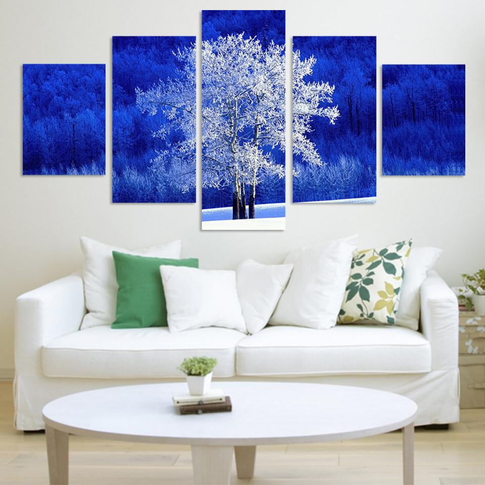 Color printing tamu - New White Tree And Blue Background 5 Panels Big Hd Huge Canvas Print For Living Room