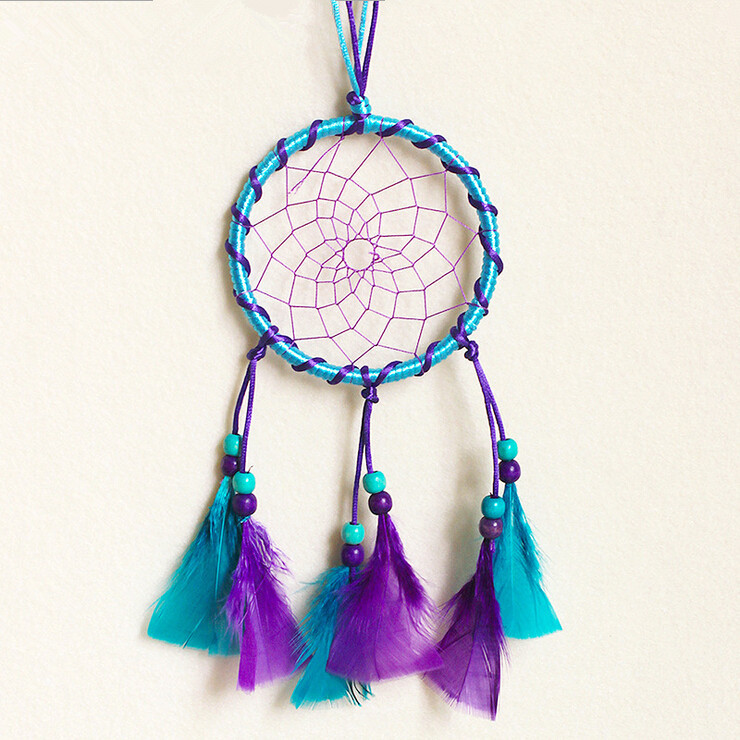 Blue&purple Feather Catcher Dreams, Indian Dream Catcher Home Decoration, Apanhador Dos Sonho, Filtro Dos Sonhos Com Pena