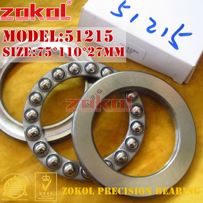 ZOKOL bearing 51215 Thrust Ball Bearing  8215 75*110*27mm zokol bearing 51411 thrust ball bearing 8411 55 120 48mm
