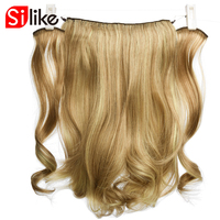 Silike Fish Line Clip In Hair Extensions Synthetic Long Wave Curly 18 Inch Secret Invisible Three