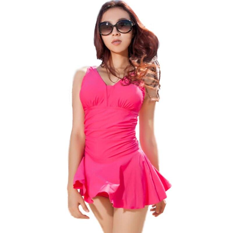 5abad7cc560 Padded Sexy Women Beach Cover Ups Ruffle Conservative Swim Dresses For Juniors  Swimwear Women Bathing Suits One Piece Beach Wear