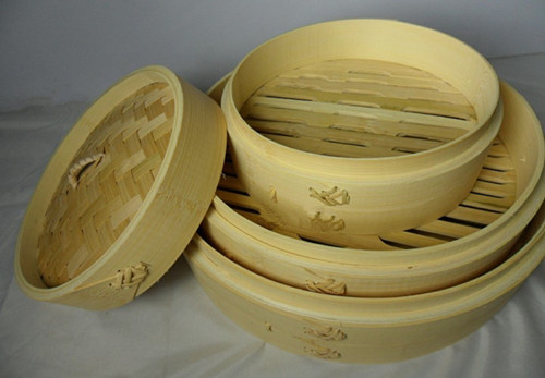 Kitchen 24cm Bamboo Steamers 2pcs Steamer Body+1pc Lid Steaming Food Vegetable Dumpling Bun Hand Made Steam Rack Free Shipping