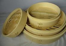 Küche 24 cm bambus dampfer 2 stücke dampfer körper + 1 stück deckel dampfenden essen gemüse knödel brötchen hand made dampf rack kostenloser versand