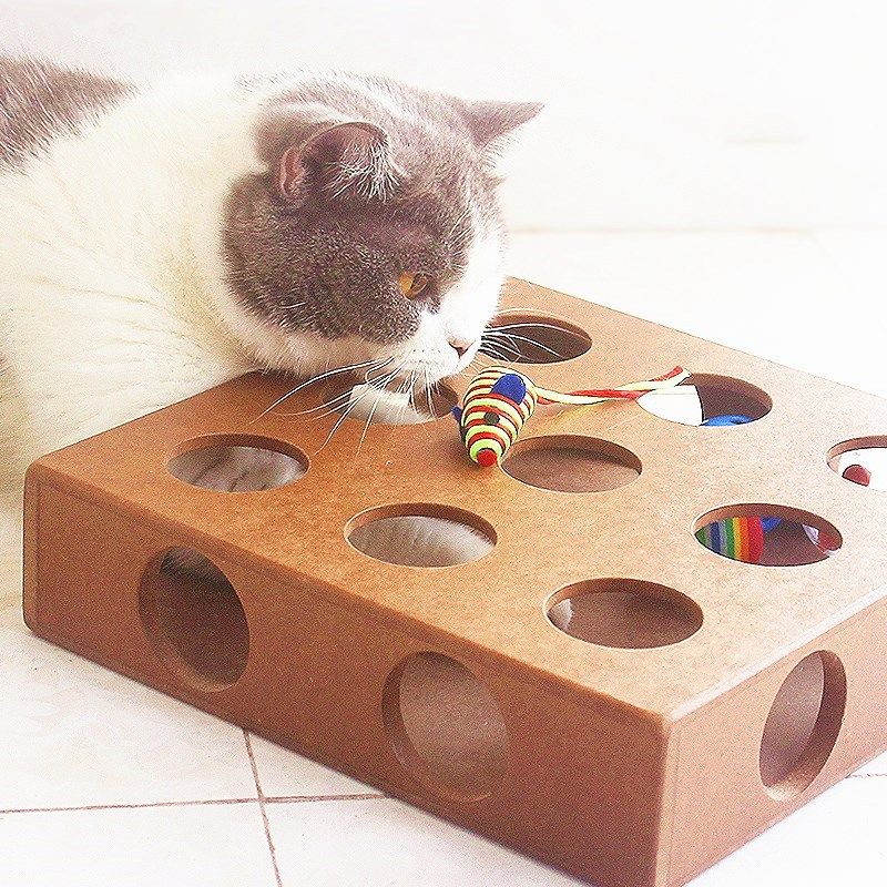 Cat Toy Pet Play Toy Box Cats Hide & Seek Box Scratching Toy Funny Platform Kitty Puzzle Toys with Balls Pet Dog Cat Supplies