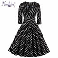 Nemidor High Quality Women 3/4 Sleeve Dot Vintage Party Dress Square Neck Plus Size Midi Summer Rockabilly Dress