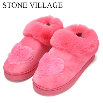 New Arrival Heart-Shaped Cotton Women Slippers Warm Plush Winter Fur Slippers Soft Indoor Shoes Flat With Home Slippers 1