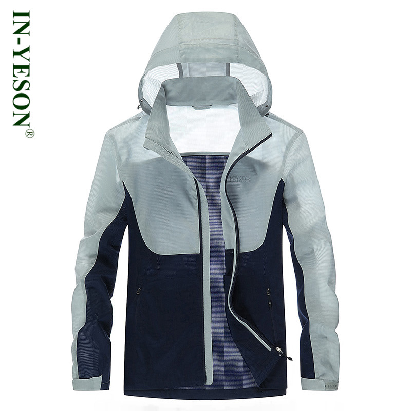 Brand mens outdoor sports thin sun-protective jacket anti uv quick dry waterproof camping & hiking jacket patchwork skin jacket