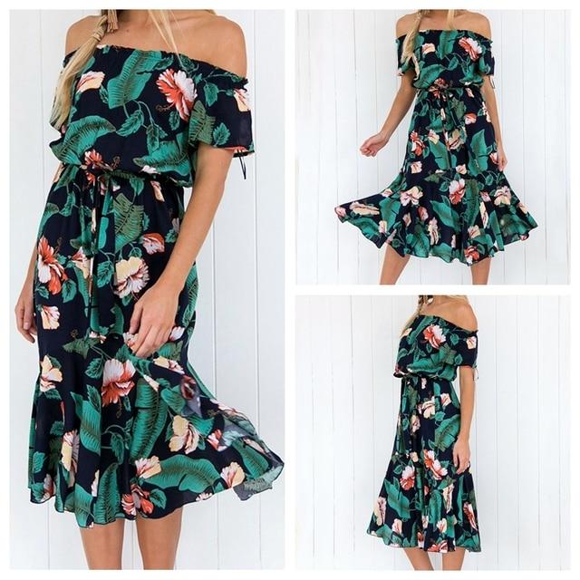 AIEnny Summer Floral Print Midi Chiffon Dress Elegant Word Short Sleeve Party Dresses
