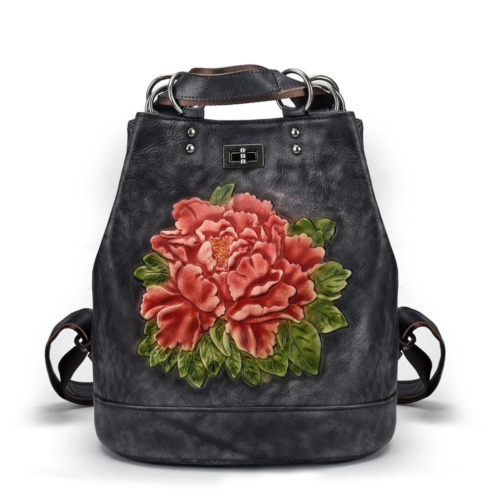 Bagaj ve Çantalar'ten Sırt Çantaları'de Johnature 2019 Yeni Vintage Büyük Deri Sırt Çantası Eğlence Çiçek Softback Geri Çekilebilir Kabartma Kadın Sırt Çantası omuz çantaları'da  Grup 2