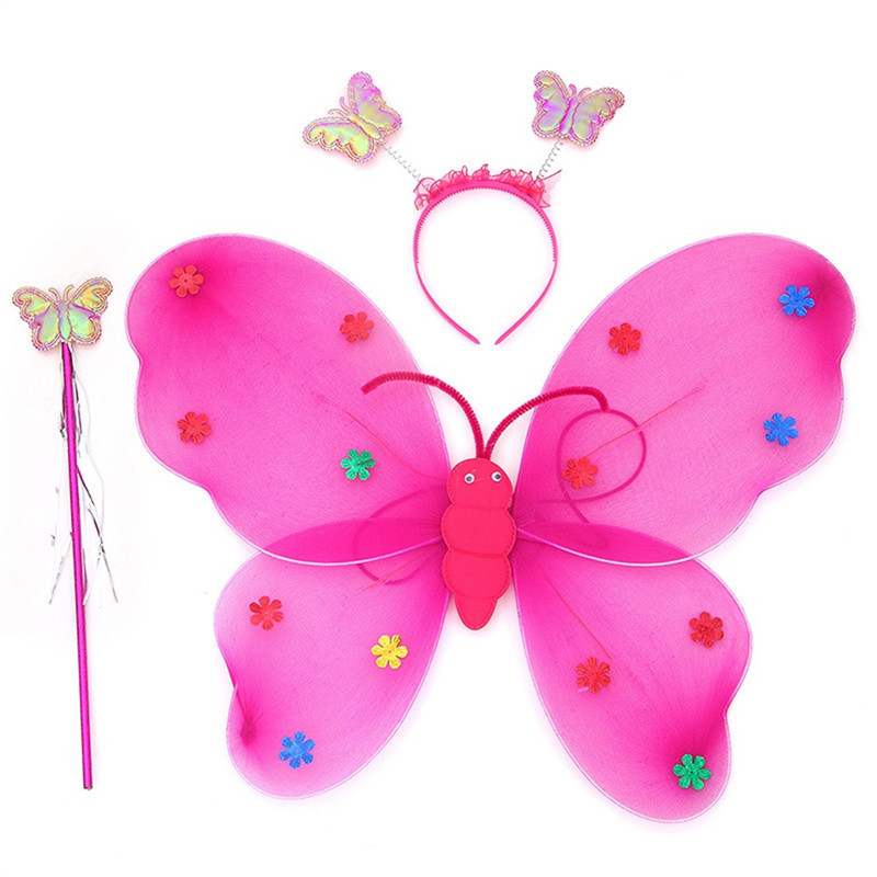 Sozzy 2018 A# 3pcs/Set Girls Led Flashing Light Fairy Butterfly Wing Wand Headband Costume Toy