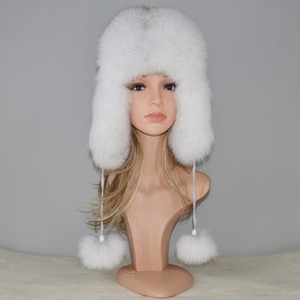 Image 2 - 2020 New Winter Russian Natural Real Fox Fur Hat Hot Sale Women Warm Good Quality Fox Fur Bomber Hats Genuine Real Fox Fur Cap