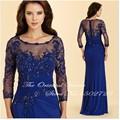 Azul Royal Chiffon Mãe do Bide Vestidos Apliques de Renda Frisado Mangas Compridas Vestidos de Noite Vestidos de Madrinha